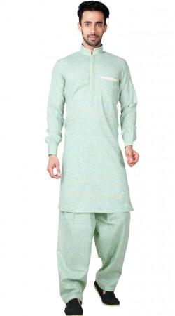 Cotton Linen Light Purple Pathani Kurta Pajama GR154019