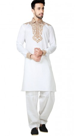 Cotton Linen Off White Pathani Kurta Pajama GR152919