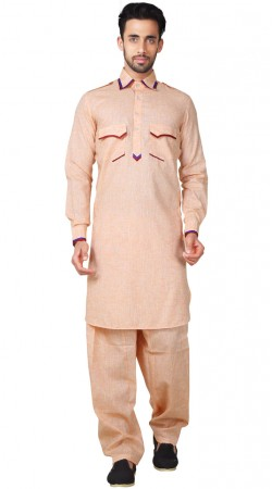 Cotton Linen Peach Pathani Suit For Men GR154519