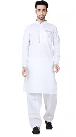 Cotton Linen White Men Kurta Pajama GR155019