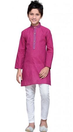 Cotton Purplish Magenta Boy Kurta Pajama GR10608