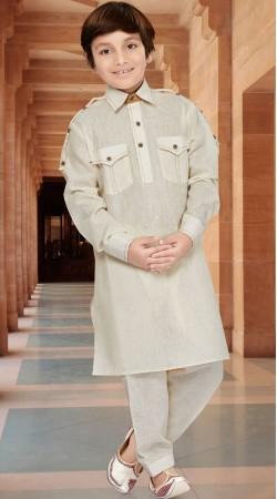 Cotton Silk Cream Boy Kid Pathani Kurta Pajama RL1734504