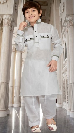Cotton Silk Off White Boy Pathani Kurta Pajama RL1733304