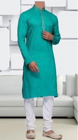 Cotton Turquoise Long Sleeves Men Kurta Pajama SIDCW546