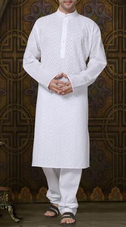 Cotton White Men Kurta Pajama RL1189403