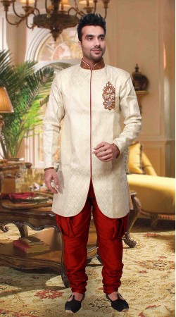 Cream And Red Poly Jacquard Indowestern Style Kurta Pyjama DT2533