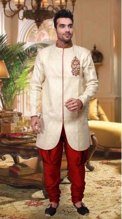 Cream And Red Poly Jacquard Indowestern Style Kurta Pyjama DT2533