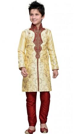 Cream Art Silk Boy Sherwani For Party GR11908