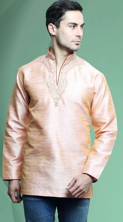 Cream Banarasi Tassar Silk Men Short Kurta DTDK2063