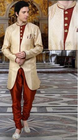 Cream Banarsi Brocade And Art Dupion Silk Polo Indowestern Sherwani DT12538