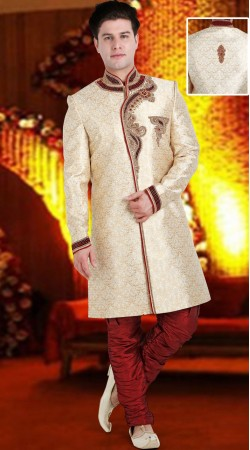 Cream Brocade Indo Western Sherwani For Wedding 3FD8413105