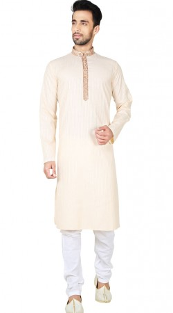 Cream Cotton Kurta Pajama For Men GR149017