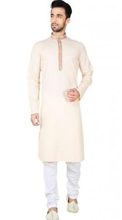 Cream Cotton Kurta Pajama For Men GR149017