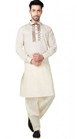 Cream Cotton Linen Pathani Suit For Men GR152719