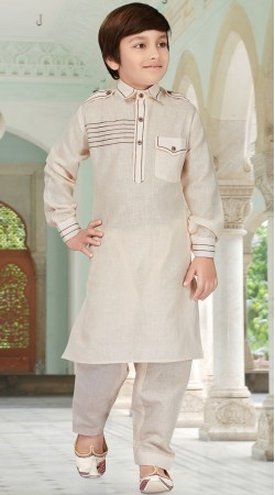 Cream Cotton Silk Pathani Kurta Pajama For Boy RL1733104