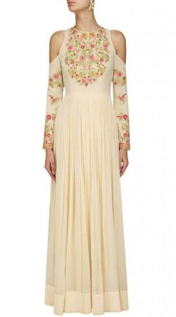 Cream Georgette Cut Out Shoulder Anarkali Suit SUUDS48629