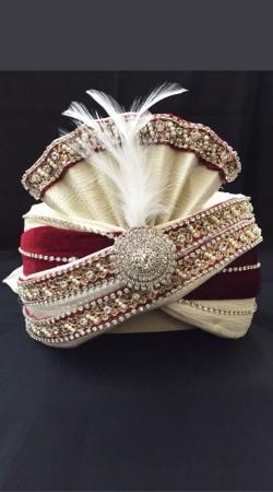 Cream Georgette Red Velvet Wedding Turban For Groom DTT1035
