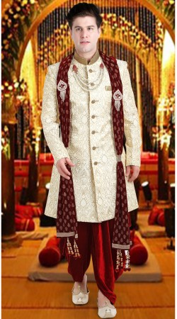 Cream Jacquard Groom Wedding Sherwani 3FD8413605IBO