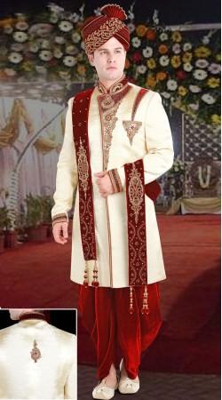 Cream Jute Groom Wedding Sherwani 3FD8413405IBO