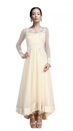 Cream Net Ankle Length Anarkali Suit SUUDS18002