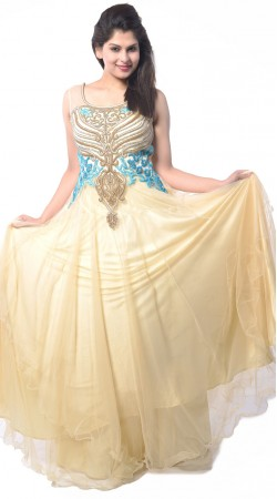 Cream Net Long Indowestern Gown