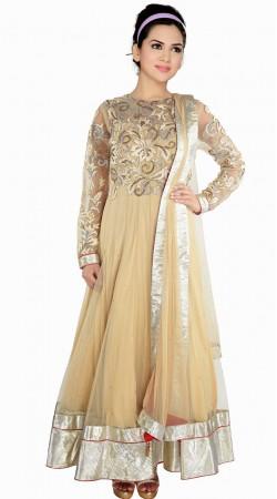 Cream Net Silver Border Exclusive Salwar Kameez With Dupatta SUMA809