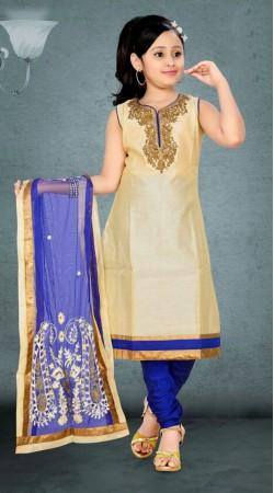 Cream Premium Fabric Readymade Kids Churidar Kameez With Blue Dupatta DT700637