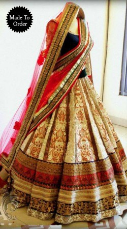 Cream Premium Fabric Replica Wedding Lehenga Choli With Red Dupatta SMDS00T