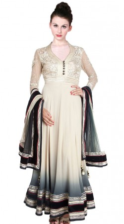 Off White Pure Georgette Ankle Length Anarkali Suit SU4801