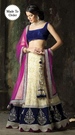 Cream Semi Bridal Replica Lehenga Choli With Purple Dupatta SMDS00V