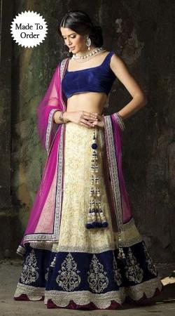 Cream Semi Bridal Replica Lehenga Choli With Purple Dupatta SMDS00V