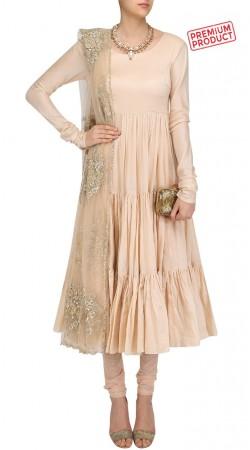 Cream Silk Anarkali Salwar Kameez With Embroidery Work Dupatta SUMS30821
