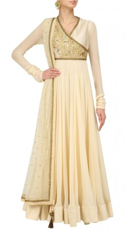 Cream Silk And Georgette Angrakha Style Anarkali Suit SUMS36424