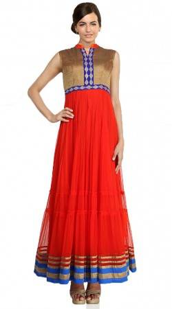Crimson Net Ankle Length Anarkali Suit SU101