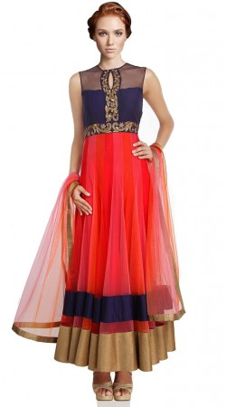 Crimson Net Ankle Length Anarkali Suit SU801