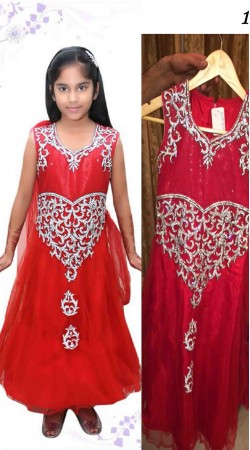 Crimson Net Readymade Kids Gown DT102329