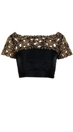 Cut Work Neck Style Black Premium Fabric Designer Blouse For Saree BP2309