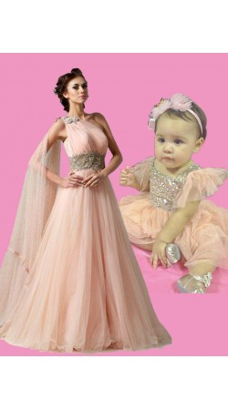 Cute Baby And Pretty Mom Matching Dress For Birthday Party BP1951