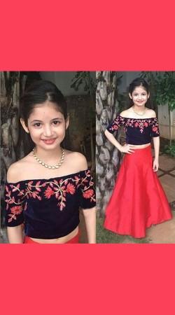 Cute Harshaali Malhotra Red Satin Silk Baby Lehenga Choli BP0632