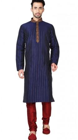 Dark Blue Art Silk Kurta Pajama With Emboridery Work GR148415