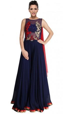 Dark Blue Crush Floor Length Anarkali Suit With Dupatta SUUDS28904