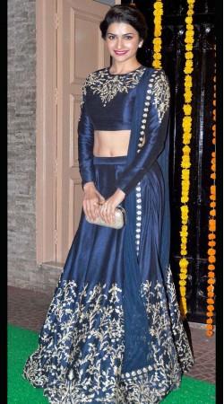 Dark Blue Raw Silk Prachi Desai Bollywood Lehenga Choli With Dupatta THS22301
