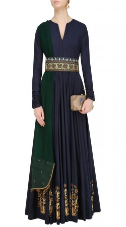 Dark Blue Silk Designer Floor Length Anarkali Suit SUUDS41620