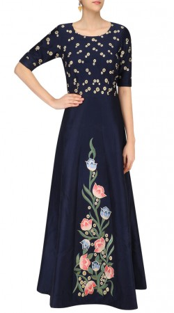 Dark Blue Silk Designer Gown Style Suit SUUDS44626
