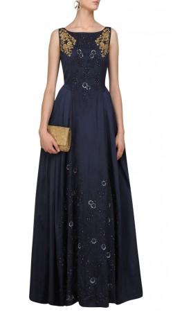 Dark Blue Silk Floral Work Gown Style Suit SUMA57528