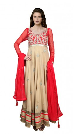Dark Cream Faux Georgette Ankle Length Anarkali Suit SUUDS19302