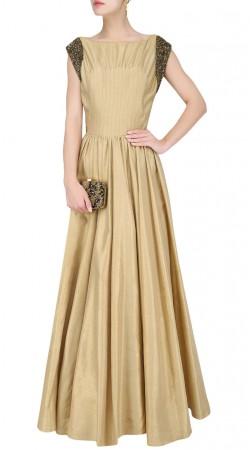 Dark Cream Silk Plus Size Gown Style Suit SUUDS46026
