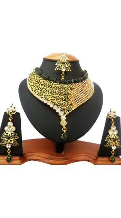 Dark Green Stone Work Designer Artificial Jewellery NNP78204