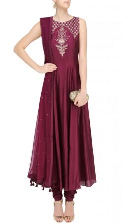 Dark Magenta Silk Designer Anarkali Suit With Dupatta SUUDS41120