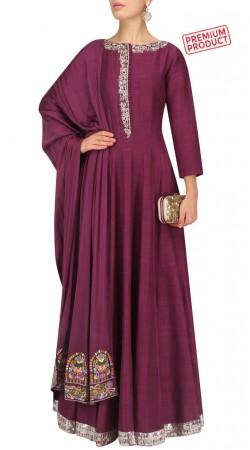 Dark Magenta Silk Floor Length Anarkali Suit SUMS27721